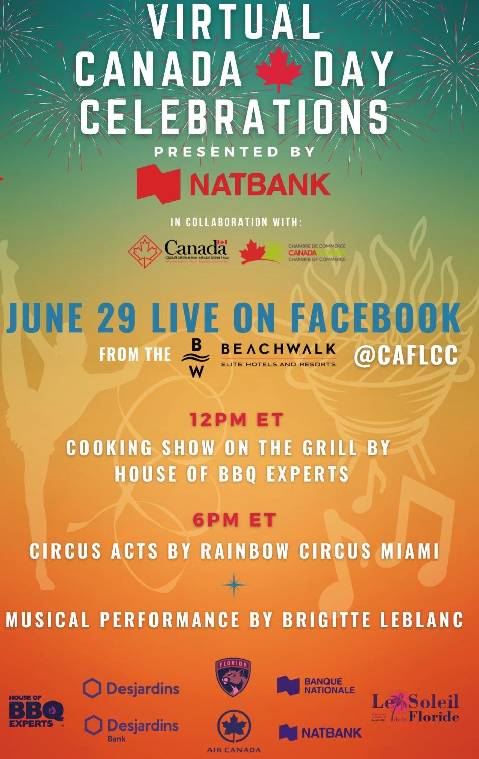 CÉLÉBRATIONS DE  LA FÊTE DU CANADA  SUR FACEBOOK LIVE @CAFLCC